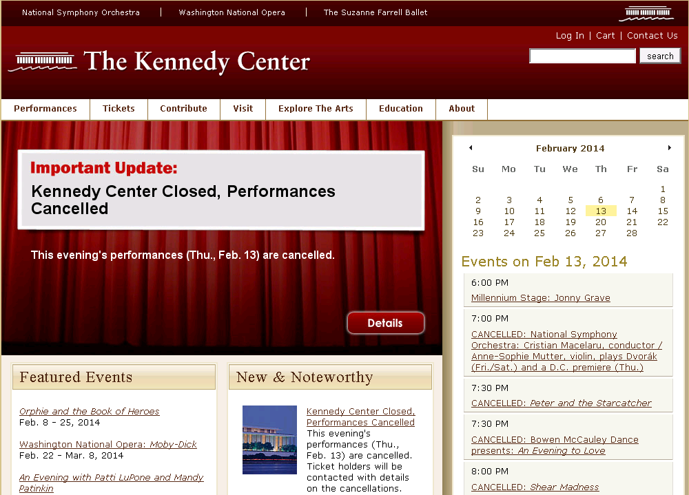 Kennedy Center Closed, 2/13/2014